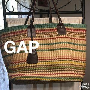 Gap Large Weave Tote Bag Stripes
